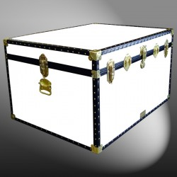02-206 WL WHITE LEATHERETTE Jumbo Storage Trunk with ABS Trim