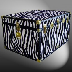 02-210 ZEB FAUX ZEBRA Jumbo Storage Trunk with ABS Trim