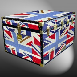 02-202 OCUJ OIL CLOTH UNION JACK Jumbo Storage Trunk with ABS Trim