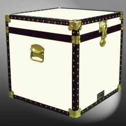 20-158 WOOD WASH CREAM Cube Storage Trunk with ABS Trim