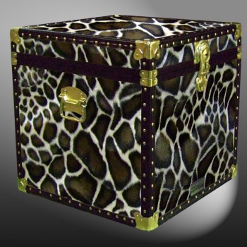 20-188 G FAUX GIRAFFE Cube Storage Trunk with ABS Trim