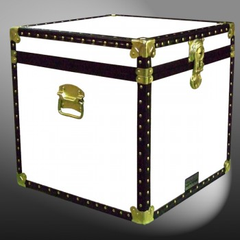 20-177 WL WHITE LEATHERETTE Cube Storage Trunk with ABS Trim