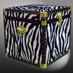 20-184 ZEB FAUX ZEBRA Cube Storage Trunk with ABS Trim