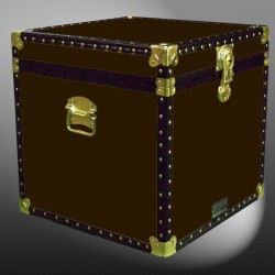 20-175 BL BROWN LEATHERETTE Cube Storage Trunk with ABS Trim