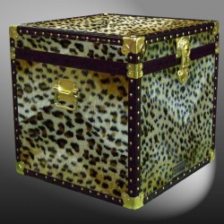 20-186 CH FAUX CHEETAH Cube Storage Trunk with ABS Trim