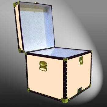 20-179 CL CHAMPAGNE LEATHERETTE Cube Storage Trunk with ABS Trim