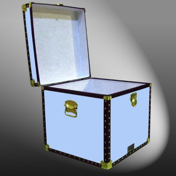 20-152 WOOD WASH BLUE Cube Storage Trunk with ABS Trim