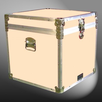 20-180 CLE CHAMPAGNE LEATHERETTE Cube Storage Trunk with Alloy Trim