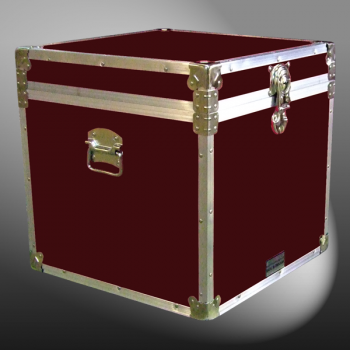 20-097 RE MAROON Cube Storage Trunk with Alloy Trim