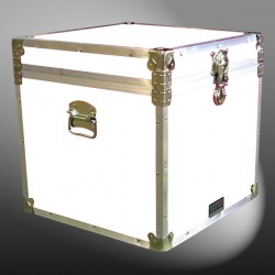 20-178 WLE WHITE LEATHERETTE Cube Storage Trunk with Alloy Trim