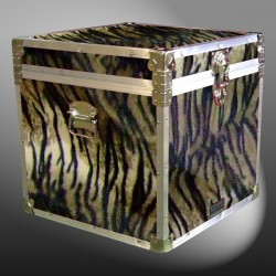 20-191 TIE FAUX TIGER Cube Storage Trunk with Alloy Trim