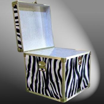 20-185 ZEBE FAUX ZEBRA Cube Storage Trunk with Alloy Trim