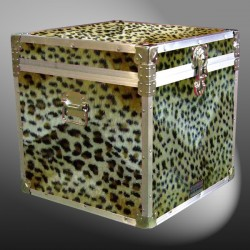 20-187 CHE FAUX CHEETAH Cube Storage Trunk with Alloy Trim