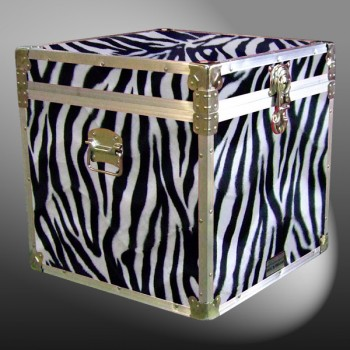 20-185 ZEBE FAUX ZEBRA Cube Storage Trunk with Alloy Trim