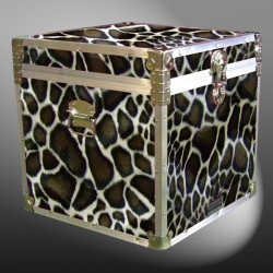 20-189 GE FAUX GIRAFFE Cube Storage Trunk with Alloy Trim