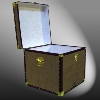 20-150 WOOD WASH BROWN Cube Storage Trunk with ABS Trim