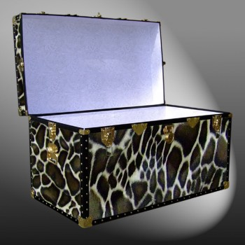 03-212 G FAUX GIRAFFE King Storage Trunk with ABS Trim