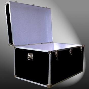 03-125 RE BLACK King Storage Trunk with Alloy Trim
