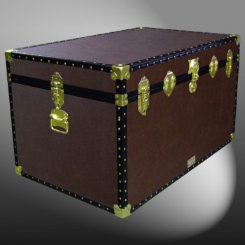 03-202 BL BROWN LEATHERETTE King Storage Trunk with ABS Trim