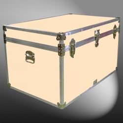 03-207 CLE CHAMPAGNE LEATHERETTE King Storage Trunk with Alloy Trim