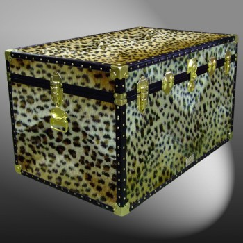 03-210 CH FAUX CHEETAH King Storage Trunk with ABS Trim