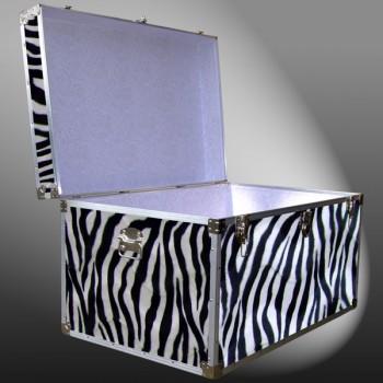 03-209 ZEBE FAUX ZEBRA King Storage Trunk with Alloy Trim