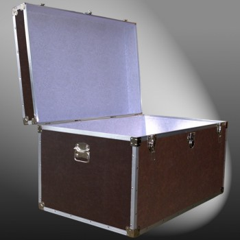 03-203 BLE BROWN LEATHERETTE King Storage Trunk with Alloy Trim