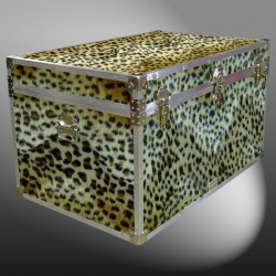 03-211 CHE FAUX CHEETAH King Storage Trunk with Alloy Trim