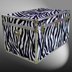 03-209 ZEBE FAUX ZEBRA King Storage Trunk with Alloy Trim