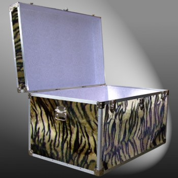 03-215 TIE FAUX TIGER King Storage Trunk with Alloy Trim