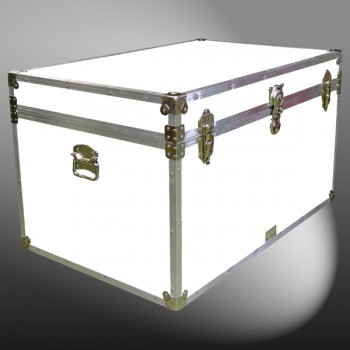 03-205 WLE WHITE LEATHERETTE King Storage Trunk with Alloy Trim
