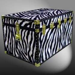 03-208 ZEB FAUX ZEBRA King Storage Trunk with ABS Trim