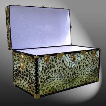 05-196 CH FAUX CHEETAH 36 Deep Storage Trunk with ABS Trim