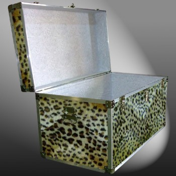 05-197 CHE FAUX CHEETAH 36 Deep Storage Trunk with Alloy Trim