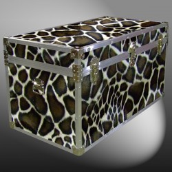 05-199 GE FAUX GIRAFFE 36 Deep Storage Trunk with Alloy Trim