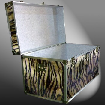 05-201 TIE FAUX TIGER 36 Deep Storage Trunk with Alloy Trim