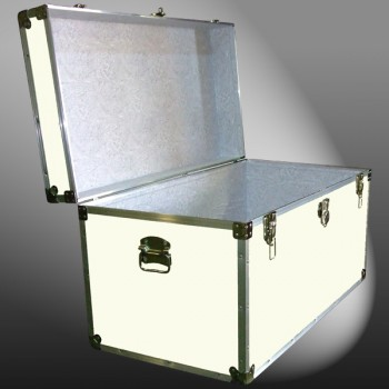 05-169 E WOOD WASH CREAM 36 Deep Storage Trunk with Alloy Trim