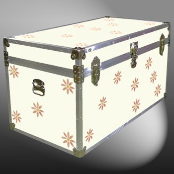 05-184 E CREAM & FLOWERS WOOD WASH 36 Deep Storage Trunk with Alloy Trim
