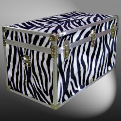 05-195 ZEBE FAUX ZEBRA 36 Deep Storage Trunk with Alloy Trim
