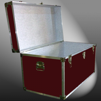 05-102 RE MAROON 36 Deep Storage Trunk with Alloy Trim