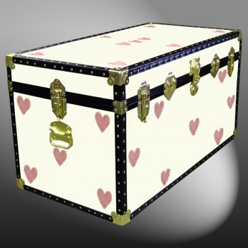 05-181 CREAM & HEARTS WOOD WASH 36 Deep Storage Trunk with ABS Trim