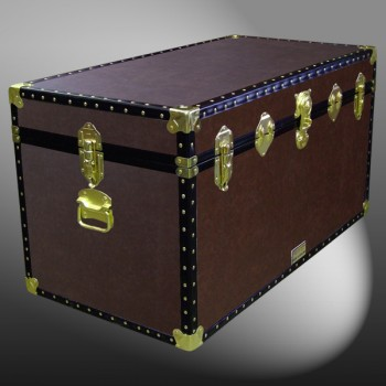 04-190 BL BROWN LEATHERETTE 38 Deep Storage Trunk with ABS Trim