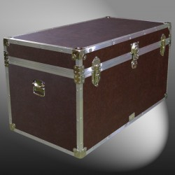 04-191 BLE BROWN LEATHERETTE 38 Deep Storage Trunk with Alloy Trim