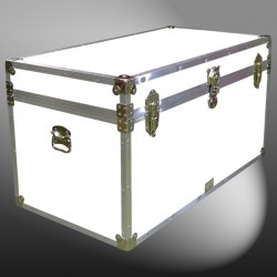 04-193 WLE WHITE LEATHERETTE 38 Deep Storage Trunk with Alloy Trim