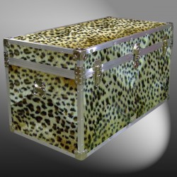 04-199 CHE FAUX CHEETAH 38 Deep Storage Trunk with Alloy Trim