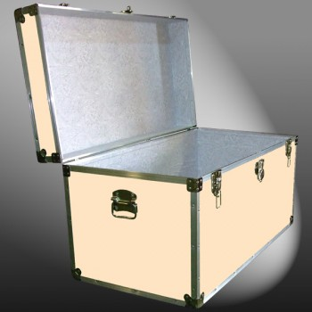 04-195 CLE CHAMPAGNE LEATHERETTE 38 Deep Storage Trunk with Alloy Trim