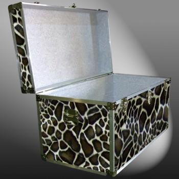 04-201 GE FAUX GIRAFFE 38 Deep Storage Trunk with Alloy Trim