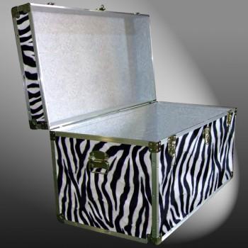 04-197 ZEBE FAUX ZEBRA 38 Deep Storage Trunk with Alloy Trim