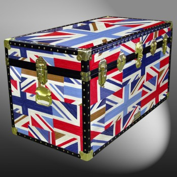 05-187 OCUJ OIL CLOTH UNION JACK 36 Deep Storage Trunk with ABS Trim