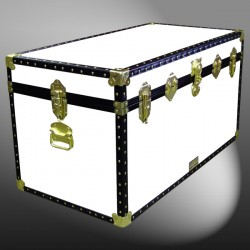 04-192 WL WHITE LEATHERETTE 38 Deep Storage Trunk with ABS Trim